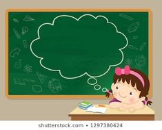 children girl thinking idea and chalkboard.Cute kid imagine in classroom and text cloud with space for your text. Kids Wallpaper, Cute Wallpaper Backgrounds, Cute Wallpapers, Poster Background Design, Powerpoint Background Design, Classroom Background, Kids Background, Word Games For Kids, Art For Kids