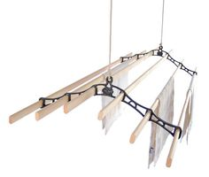 Six Lath Victorian Kitchen Maid® Pulley Clothes Airer - environmentally friendly way to dry the laundry.  rope & pulley system, mounted overhead