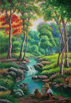 Fantasy Landscape, Landscape Art, Landscape Paintings, Nature Paintings, Beautiful Paintings, Waterfall Paintings, Art Village, Mini Canvas Art, Cottage Art