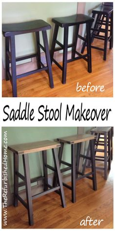 An industrial style makeover for the traditional saddle stool. From www.TheRefurbishedHome.com