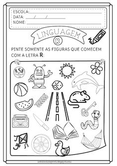 Atividades Letra R Gabriel, Notebook, Bullet Journal, Classroom, Cards, Blog, 1, Monet, Letter R Activities
