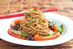 Stir-Fry Noodles with Chicken, Shitake Mushrooms and Chinese Vegetables Recipe - Jeanette's Healthy Living