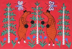 Two bear cubs could not share honey and fight for it, Maria Pryimachenko, 1981