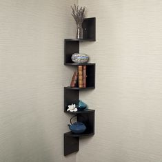 Amazon.com: Danya B Large Black Laminate Zig-Zag Corner Wall Shelf: Home & Kitchen