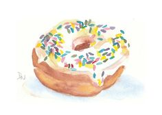 Donut Watercolour Painting - waterinmypaint on etsy