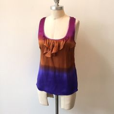 Plenty by Tracy Reese ombre silk tank Sweet little boho silk tank from Plenty by Tracy Reese, carried at Anthropologie. Scoop neckline with a racerback. Ombre magenta-purple, ochre orange, and deep blue colors. Metallic purple binding at neckline and armholes. Fitted in the bust and semi-fitted in the waist. Unlined; 100% silk charmeuse with a natural sheen.  Size S, fits a 2/4 best. Plenty by Tracy Reese Tops Tank Tops