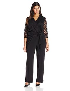 NY Collection Women's Plus-Size Surplice Neck Jumpsuit with Tie At Waist, Black Lotus, 1X NY Collection http://www.amazon.com/dp/B00OBE2ZHM/ref=cm_sw_r_pi_dp_8pbfvb0H4R80J