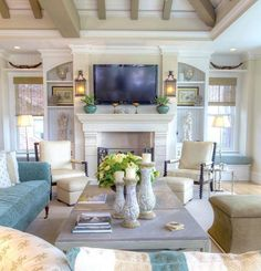 What do you think of the outstanding #decor elements in this #livingroom ? The blend of a soft palate of beachy colours and an interesting play on #decorative pieces is so chic! Shared via @beachhouseinteriors #interiordecor #roominspiration #decorativefurniture #beachhouse #homedecor #vacationhome #livingroomfurniture #centertable