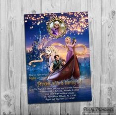 Tangled Birthday Invitation, with Rapunzel and photo, for Tangled Themed Birthday Party, More Tangled Invitations available by PartyPrintouts on Etsy New Years Eve Invitations, Girls Party Invitations, Print Your Own Invitations, Christmas Invitations, Tangled Birthday Party, Mickey Mouse Birthday, Minnie Mouse Party, Birthday Party Themes, Mouse Parties
