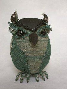 teal perching owl        ann wood handmade