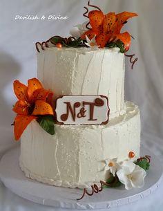Tigerlily Wedding cake- handmade flowers