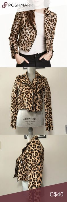 H/&M Leopard Print Cropped Biker Jacket Size 36,38,40