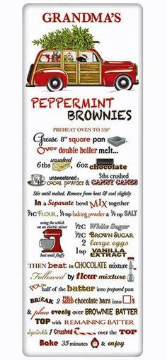 Christmas Peppermint Brownies Recipe 100% Cotton Flour Sack Dish Towel Tea Towel