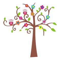 tree with owls | Vinyl Art SA Products Animals Tree Filled With Owls