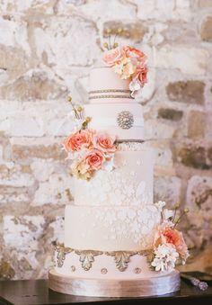 Wedding Cakes | Peach, cream and silver