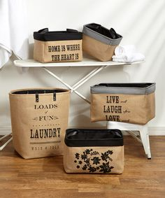 Five-Piece Burlap Laundry Set #zulily #zulilyfinds