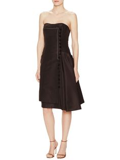 Silk Strapless Faux Wrapped Dress by Carolina Herrera at Gilt