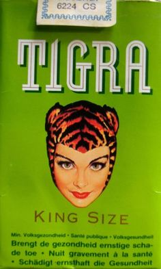 Tigra Cigarette Packet.  Latvian Angelina Saey was the model for these Belgian cigarettes & painted by Al Moore. Saey was a murder victim.