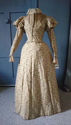 Stylish Striped 1890s Balloon Sleeve Dress - Victorian Antique Fashion | eBay