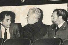 Con los cubanos, Pastor Vega y Armando Hart, realizador de cine e intelectual, respectivamente.