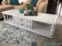 Farmhouse white is soo popular right now and I get it. It is a classic look that can go in any color scheme. This ornate vintage coffee table has been made over in shades of farmhouse white. Let's see how. Scrub your project well First step is to lightly power sand the top then scrub the entire solid wood coffee table inside and out using a good cleaner like simply green, warm water and a cloth after removing the hardware. This will allow the paint to stick well. Brush on your first… Coffee Table Video, Old Coffee Tables, Solid Wood Coffee Table, Ikea Furniture, Furniture Makeover, Painted Furniture, Upscale Furniture, Furniture Repair, Furniture Refinishing