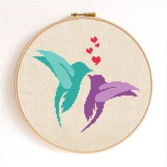 Abstract Love Birds Counted Cross Stitch Pattern Instant Download