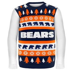 Chicago Bears NFL Ugly Sweater Wordmark available at uglyteams.com. Check out uglyteams.com for other merchandise and accessories! #Chicago #Bears #ChicagoBears