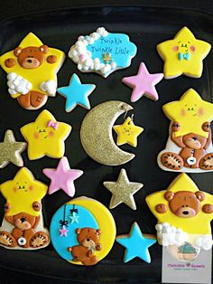 Carlota Vilas:  Baby Shower.  Theme -  Twinkle, Twinkle Little Star.  Stars. Teddy bear.  Half moon.  Cresent moon.