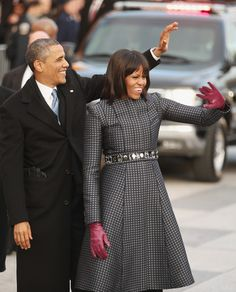 U.S. President Barack Obama & First Lady Michelle Obama wave to supporters as they walk Mr. Obama's 2nd Presidential Inaugural Parade route down Pennsylvania Avenue January 21, 2013 in Washington, DC. President Obama took the Oath of Office earlier in the day during a ceremony on the west front of the U.S. Capitol. #Wonderful