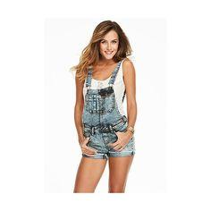Revolt Denim Shortall ($9.99) ❤ liked on Polyvore featuring medium blue, short overalls and alloy apparel