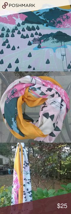 Super Unique Ski Slope Scarf This scarf features a print of a beautiful ski slope, hut and mountains under a sunset. So unique and perfect for sipping cocoa in the lodge. Soft and flexible material. Can be styled in many ways. 75 x32. printed village Accessories Scarves & Wraps