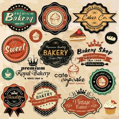 Collection of vintage retro grunge food labels, badges and icons - buy this stock vector on Shutterstock & find other images. Vintage Logo, Vintage Design, Vintage Labels, Retro Vintage, Vintage Style, Vintage Inspired, Vintage Bakery, Vintage Colors, Cupcake Clipart