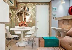 Apartamento de apenas 37 m² tem dois confortáveis dormitórios. Fotos da revista MINHA CASA.