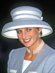 At the wedding of Viscount Linley in October of 1993. Again she is showing the Spencer family love of pearls.