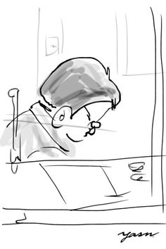 """I sketched a man useng iPhone 6 Plus (iOS app""""Zen Brush"""") in 5 minutes."""