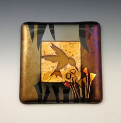 Art Glass Wall Tile, Amber Hummingbird - kiln-formed, fused, home decor