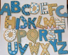 Alphabet letter cookies decorated to match the book The Phantom Tollbooth