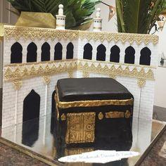 Hajj Mubarak cake!! Vanilla cake with hand painted gold decorations