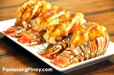 Baked Lobster Tail Recipe with lobster tails, melted butter, parsley flakes… Fish Recipes, Seafood Recipes, Great Recipes, Cooking Recipes, Healthy Recipes, Baked Lobster Recipes, Lobster Dishes, Fish Dishes, Seafood Dishes