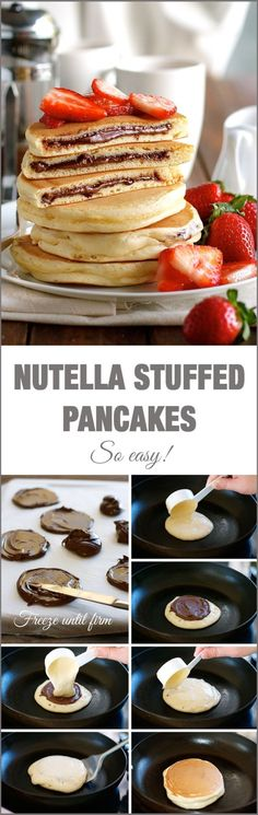 Nutella Stuffed Pancakes - frozen Nutella discs makes it a breeze to make the Nutella stuffed pancakes! by Pikssik