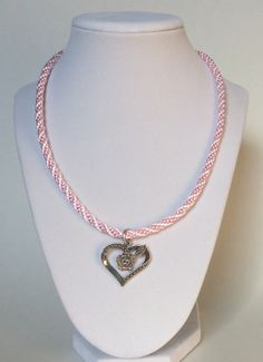 Pink and White Braided Rope Kumihimo Necklace with Rose & Heart Charm, Braided Necklace, Rope Necklace, Kumihimo Necklace, Vegan, Pretty by CreationsByLacieK on Etsy