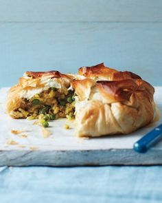 Curried Chicken-and-Potato Pie (phyllo, hashbrowns, peas, curry powder)  so. freaking. good.