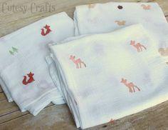 DIY Stamped Muslin Swaddling Blankets