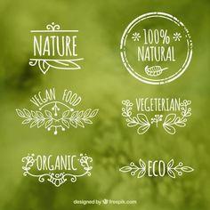 Os rótulos dos alimentos ecológicos Vetor grátis