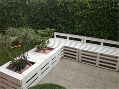 uses for old pallets (16)...Cool idea for outdoor seating (planters are a nice touch)!