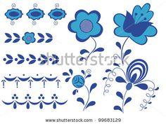Elements of the painting Gzhel isolated on the white background. by Valentinash, via ShutterStock
