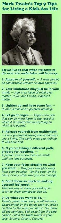Mark twain's top 9 tips for living a kick-ass life ~ Sharepx