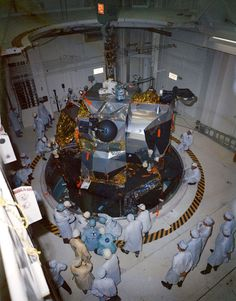 On January 13, 1969, technicians in the Kennedy Space Center's Manned Spacecraft Operations Building position the Lunar Module 4 in preparation for mating with the Spacecraft Lunar Module Adapter. The Lunar Module 4 will fly in the May 1969 Apollo 10 lunar orbit mission atop the Spacecraft 106 and Saturn 505 vehicle.