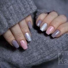 Grey and pink nails photo