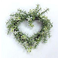 Spring Heart Wreath White, 12 in